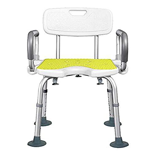 SHOW-WF Taburete de Ducha Tipo U con Respaldo y reposabrazos, Silla de baño/Ducha de Altura Ajustable Banco de Ducha for Ancianos y discapacitados,A