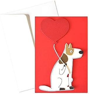 Cane con palloncino - love - amore - festa degli innamorati - biglietto d'auguri (formato 15 x 10,5 cm) - vuoto all'intern...