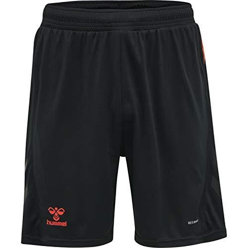 HUMMEL Unisex-Adult 210988 Shorts, BLACK/FIESTA, L