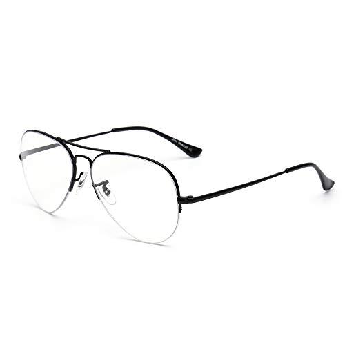 JIM HALO Occhiali Computer Aviatore con Blocco Luce Blu Occhiali da Vista Retrò Metà Telaio Ridurre l'affaticamento degli Occhi Lente Antiriflesso Uomo Donna Nero