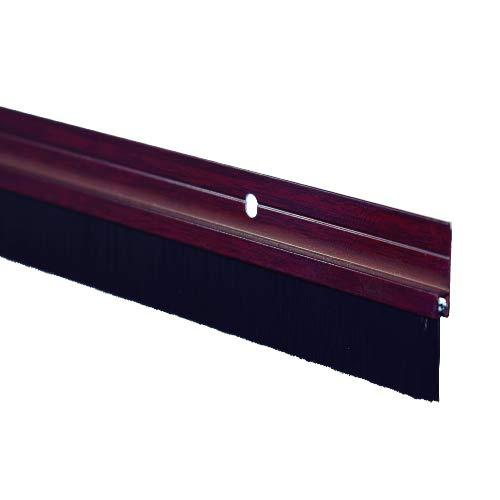 Ferrestock FSKBUR001SP Burlete bajo Puerta de Aluminio con Flecos y Orificios para atornillar, 1 Metro, Color Sapeli