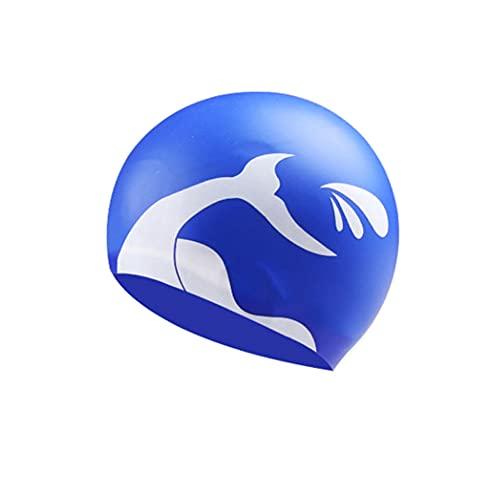Badekappe Silikon Plus Size Bequemer Kopf Gehörschutz Haarschutz Schwimmausrüstung wasserdichte Unisex Badekappe (Blau)