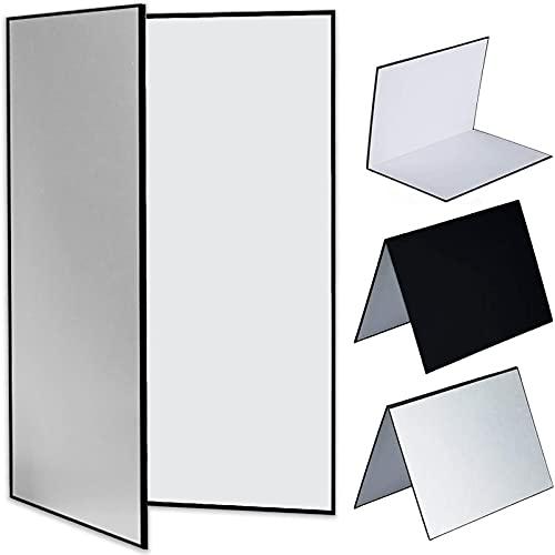 Reflektor Fotografie Cardboard, 3 in 1Reflektorpanel, 21 x 29,7cm Faltender Licht Diffusor Brett Hintergrund für Stillleben Fotografie Shooting, Schwarz, Silber und Weiß(A4)