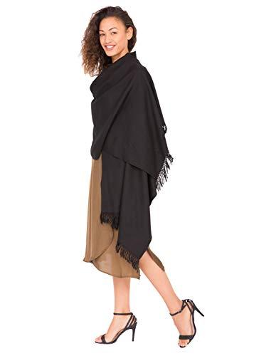 likemary Damen Schal Schultertuch aus 100% Merino Wolle - Poncho Stola XXL Tuch & Umschlagtuch - ideales Geschenk für Frauen - Kasa schwarz