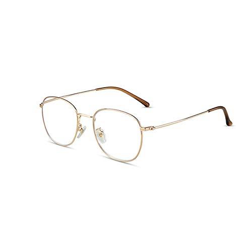 HQMGLASSES Gafas de Lectura Anti-Azul de Las Damas para teléfono móvil, Lente de Resina HD Ultra-Light Metal Frame Lector Diopter +1.0 a +3.0,Oro,+1.0