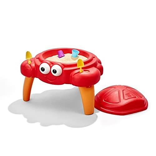 Step2 Crabbie Sandtisch mit Deckel | Plastik Sandkasten mit Abdeckung für Kinder in Form einer Krabbe | Mit 4-teiligem Zubehör Set