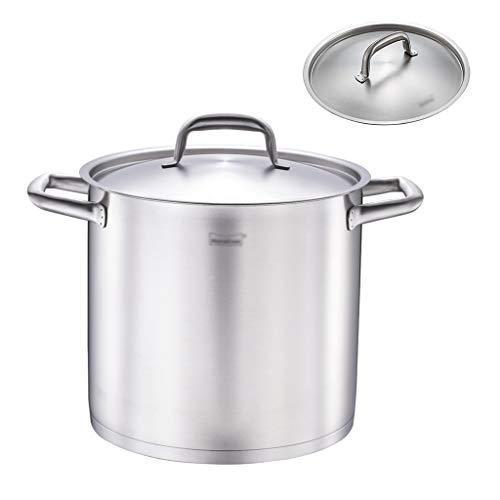 24 cm grote kookpan, inductie, safe van roestvrij staal, grote kookpan met deksel, helder water, schaal zilver.