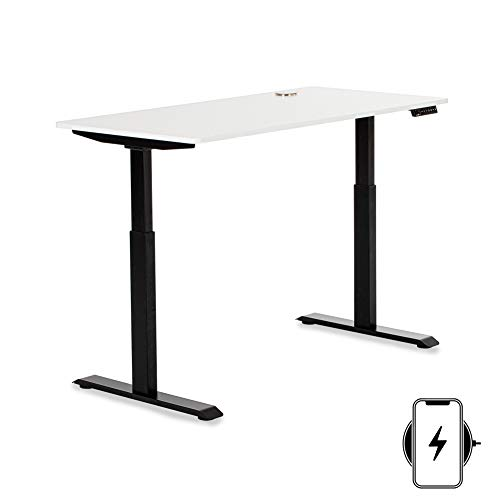 """StudiONE Electric Height Adjustable Standing Desk, Dual Motor Sit Stand Ergonomic Metal Frame Leg, Wireless Charger, USB C Charger, Memory Controller, Home & Office, 57"""" X 30"""" Large Wood Top, Black"""
