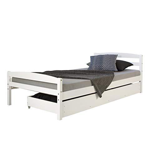 Homestyle4u 1413, Holzbett 90x200 mit Lattenrost, Bettkasten Ausziehbar, Weiß