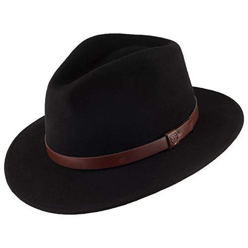 BRIXTON Chapeau Fedora Messer Noir à Bandeau Marron L
