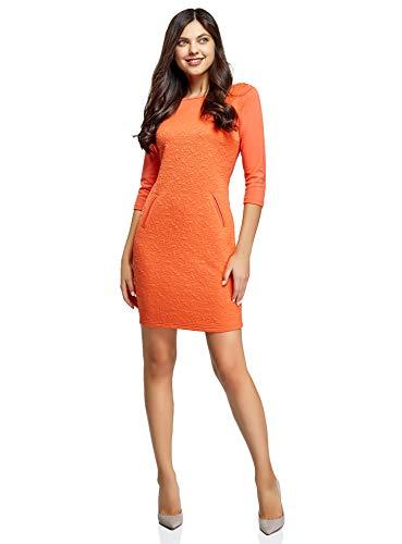 oodji Collection Damen Knielanges Kleid mit 3/4 Arm, Orange, DE 36 / EU 38 / S