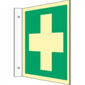 Schild Fahnenschild Erste Hilfe gem. ASR/BGV/DIN, langnachleuchtend PVC 14,8x14,8 cm (Rettungschild, Hinweisschild, Unfall) praxisbewährt, wetterfest