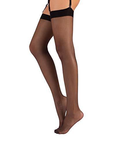CALZITALY Medias para Liguero, Pantys Transparerentes de Mujer | S, M, L, XL, 2XL, 3XL, 4XL | Negro, Natural | 15 DEN | Made in Italy (M/L, Negro)