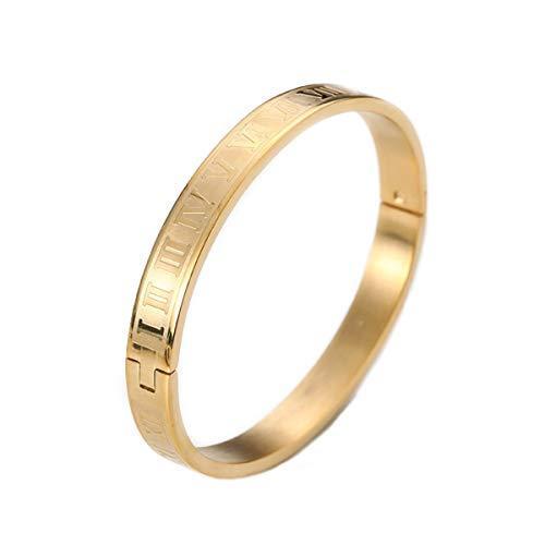ALUN Schmuck Herren Damen Armband, Lieben Partner Armreifen Freundschaftsarmbänder, Klassiker Römische Zahlen Ziffern, Titan, Kupfer, Gold,18cm