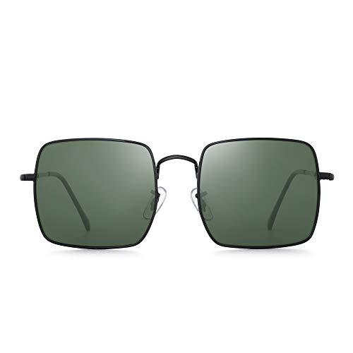 GLINDAR Gafas de sol Polarizadas Grande Cuadrado Marco Metal Conducir Deportes Hombre Mujere
