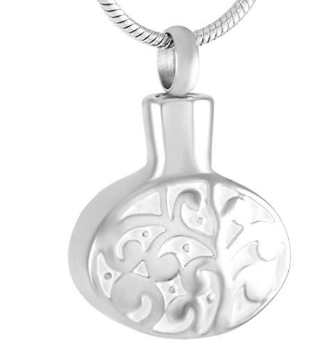 N / D Collar De Cremación Collar conmemorativo de cremación Ovalada de árbol y Hoja de Acero Inoxidable para Cenizas urna Recuerdo Colgante joyería
