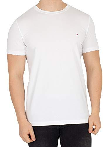 Tommy Hilfiger Core Stretch Slim Cneck Tee Maglietta, Bianco (Bright White 100), Large Uomo
