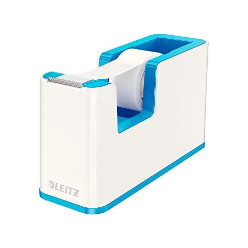 Leitz, Klebeband-Tischabroller, Fester Stand, Inkl. Kleberollen, Weiß/Metallic Blau, WOW, 53641036
