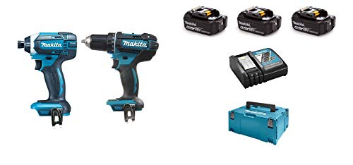 Ensemble de 2 Machines 18V 5Ah Li-Ion (Perceuse Visseuse DDF482 + Visseuse à Chocs DTD152) + 3 Batteries DLX2127TJ1 Makita