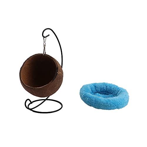 PGATU Natürliches Hängemattenbett, Meerschweinchenspielzeug, Kokosnussschalen-Hängekorb, Hamsterhaus Kleintierbedarf