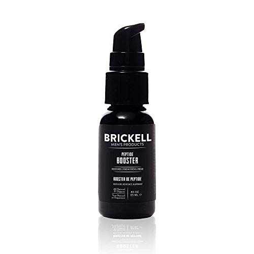 Brickell Men's Protein Peptides Booster for Men, Natural and Organic, Protein Peptides Booster for Face to Firm and Restore Skin, Boost Collagen Production and Fight Aging, 19 ml, Unscented.