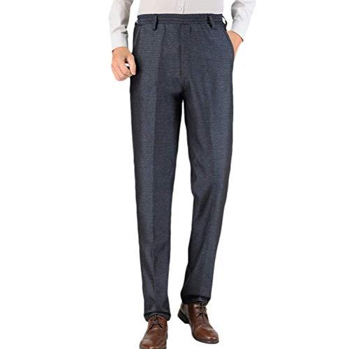 HaiDean Medio E Vecchio di età Stretech Elasticizzato Herren Casual Moderna Waist Hose Straight Let Pantaloni Caldi Casual Vater Hosen (Color : Grigio Scuro, Size : Waist:39'-42')