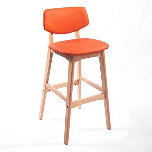 Barkruk met een hoogte van 25/29 inch zitting en gevoerde rugleuning, zitvlak in oranje, moderne gebogen eetkamerstoel voor keuken, pub, caf, barkruk, tuinbank max. belasting: 200 kg. Seat height:73cm
