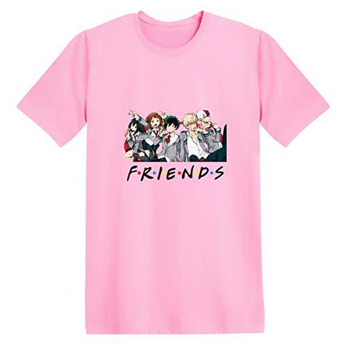 JHDESSLY Camiseta T-Shrit Anime My Friends Hero Academia feminina/masculina unissex hip hop manga curta fãs, rosa, 4XG