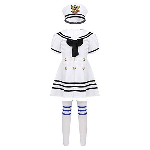 dPois Kinder Mädchen Matrosen Sailor Uniform Kurzarm Kleid Gefaltet mit Hut Strümpfe Chor Tanz Auftritt Kostüm für Cosplay Karneval Fasching Schwarz&Weiß 128-140/8-10 Jahre