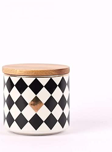 NLASHFOTarro de cerámica para Almacenamiento de Alimentos con Tapa de Madera, Almacenamiento de café, azúcar, té, Especias, Manualidades de decoración de restaurantes(Color:White)