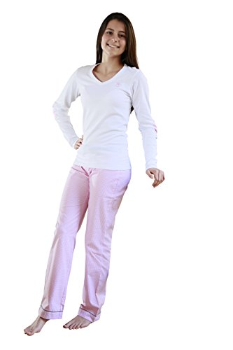 Pijama para niña – Manga larga – Camiseta de alta calidad y parte inferior de tejido de cadena y trama, tejido vichy rosa, 100% algodón