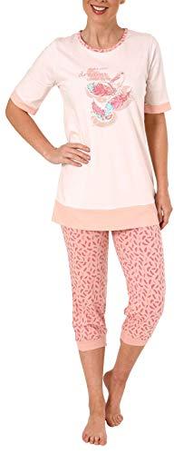 Damen Capri Pyjama Schlafanzug Kurzarm mit 3/4-langer Caprihose, Federn als Motiv 191 204 90 212, Farbe:rosa, Größe2:44/46
