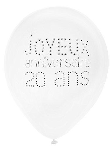 SANTEX 4450-20, Sachet de 8 ballons latex 23cm Joyeux Anniversaire 20 ans, blanc