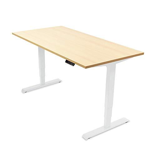 Ergotopia® Elektrisch höhenverstellbarer Schreibtisch | 5 Jahre Garantie | Ergonomischer Steh-Sitz Tisch mit Memory Funktion | Beugt Rückenschmerzen vor & Macht produktiver (180x80, Ahorn, W)