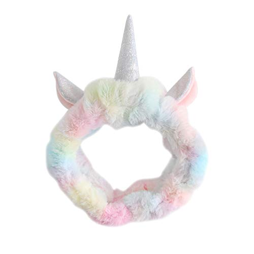 PRETYZOOM Diadema de Maquillaje de Unicornio Diadema de Ducha Linda Diadema de Spa para Mujeres Y Niñas para Lavar La Cara Spa Maquillaje Deportes (Color Aleatorio)
