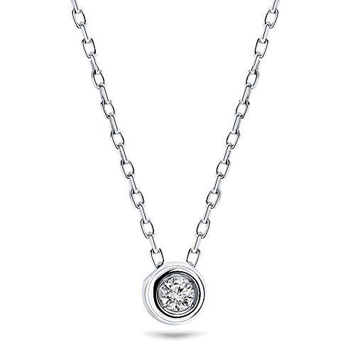 Miore Cadena para mujer de 0,05 quilates, con colgante de diamante solitario de oro blanco de 9 quilates/375, longitud de 45 cm, joya con diamante brillante