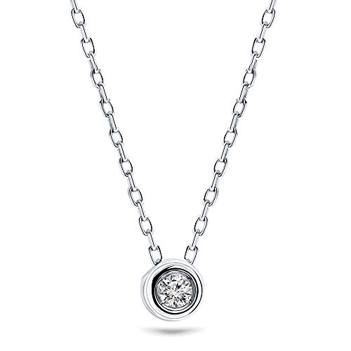 Miore Kette Damen 0.05 Ct Solitär Diamant Anhänger Halskette Weißgold 9 Karat / 375 Gold, Länge 45 cm Schmuck mit Diamant Brillant