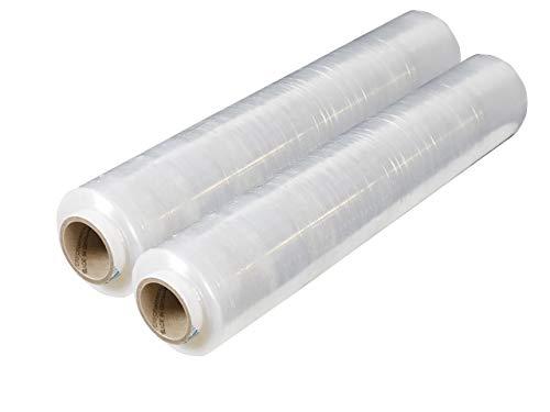 2 Rollen Stretchfolie 3,0kg 500mm x 270m | Verpackungsfolie in 23 my transparent | wählbare Qualität 17, 20 oder 23my | 1-12 Wickelfolien