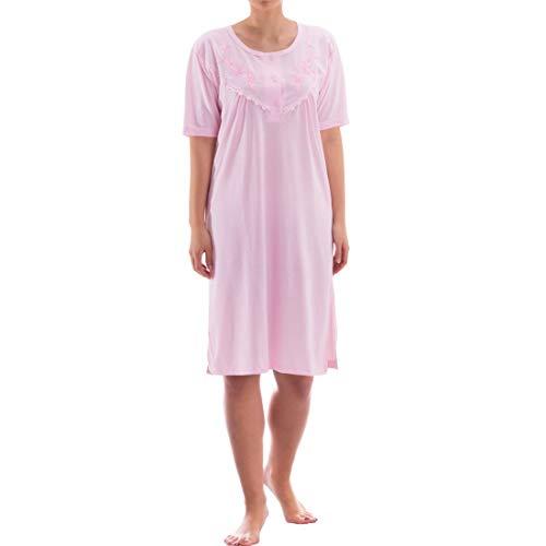 Zeitlos Nachthemd kurzarm einfarbig mit Spitze (XXL, rosa)