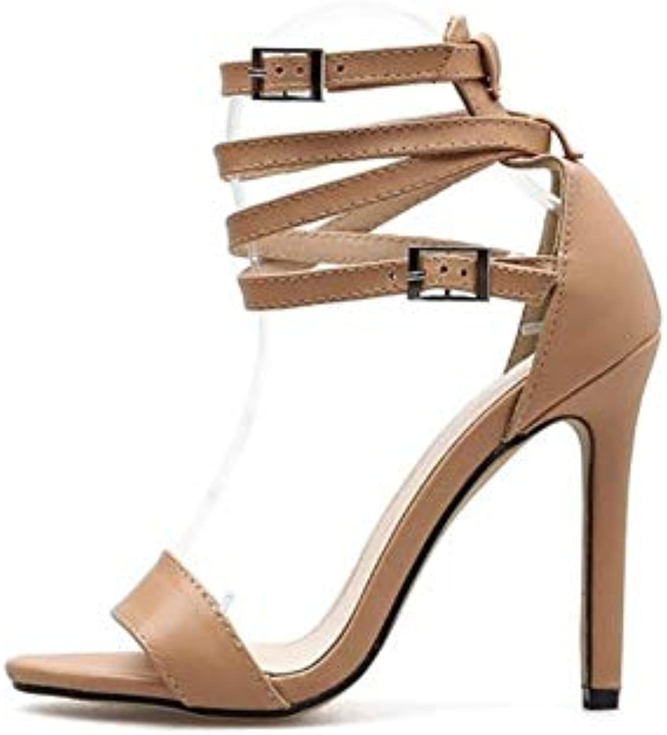 JQfashion Women's High-Heeled shoes Fishmouth High-Heeled Sandals Pointed Thin-Heeled Roman shoes
