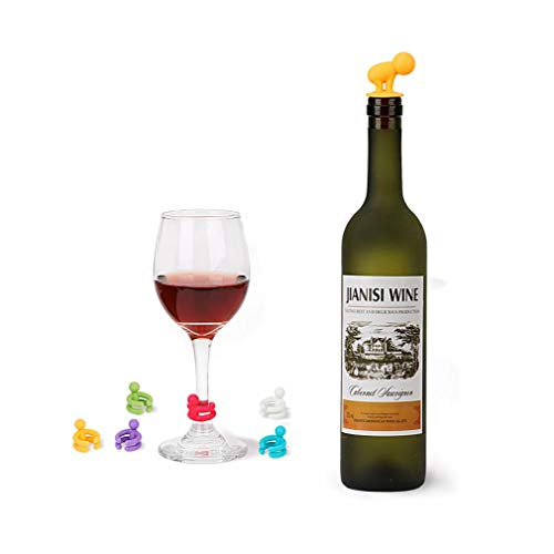 7 pc/Insieme Marker Gomma Wine Glass Silicone Label Carino Bottiglia di Vino Stopper Bar Feste Leak Libero Drink Cup Mixproof
