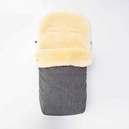 Merauno® Saco de abrigo para bebé de piel de cordero para cochecito, saco de abrigo de piel médica, resistente al viento y al agua, universal, 90 x 50 cm (gris claro)