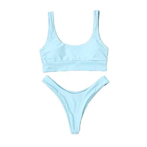 YANFANG Traje de baño Acolchado Ropa de Playa Bikini de Dos Piezas,Moda Mujer Sexy Color Puro Push-up Push Up Bikini Traje de baño de Tanga Trajes de baño Adecuado Viajes Playa