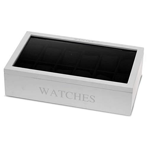 Oramics Uhrenbox mit 12 Fächern zur Uhrenaufbewahrung und zum Schutz vor Staub und Dreck, Uhrenkasten mit Uhrenkissen, Uhrenkoffer mit großem Sichtfenster zur Uhren Aufbewahrung (Weiss)
