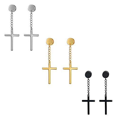 Cupimatch Uomo Donna Orecchini Catena Acciaio Inossidabile Pendente Croce Argento Oro Nero(3 Paia)