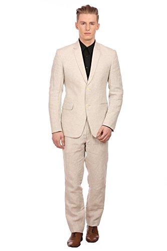 WINTAGE Costume pour Homme 100% Lin Revers Cranté Toute Saison Couleur Naturelle, Large