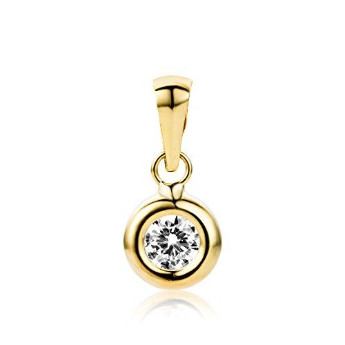 Miore Schmuck Damen klassischer Solitär Kettenanhänger mit Rundschliff Zirkonia Stein aus Gelbgold 9 Karat / 375 Gold