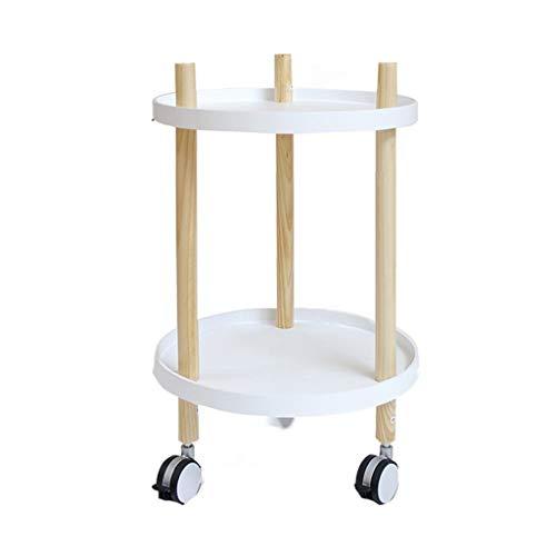 Tables basses Chariot à thé Amovible Petit Chariot canapé côté Armoire Chambre Salon Petite Table Ronde (Color : Blanc, Size : 40 * 40 * 63cm)