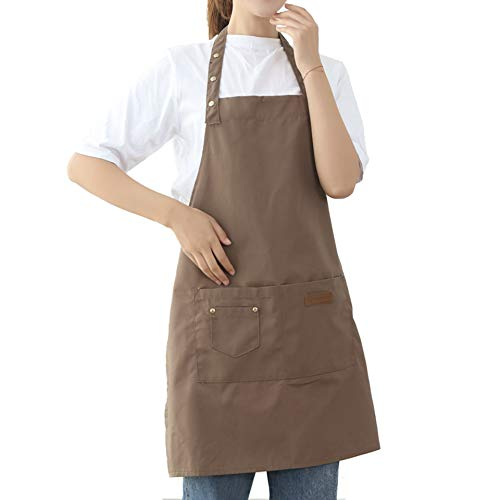 Aprons for Women Men BBQ Chef Cooking Artist Water Drop Resistant Canvas Adjustable Kitchen Apron with Pockets for Unisex Grill Baking Painting Art Stylist Dishwashing Comfortable Aprons khaki