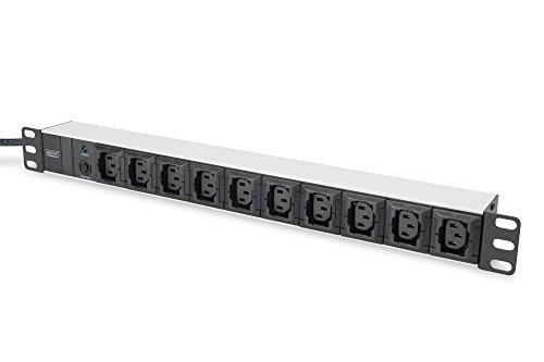 """DIGITUS 19\"""" Steckdosenleiste - 10 IEC C13 Abgriffe - 1HE - 250VAC - 50/60Hz - 10A - 2500W - Mit Überlastschutz"""